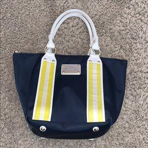 Michael Kors blue yellow stripe canvas bag